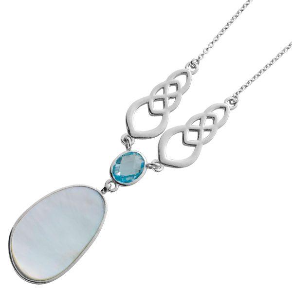 Blautopas Perlmutt Collier Ankerkette Silber 925 Edelstein