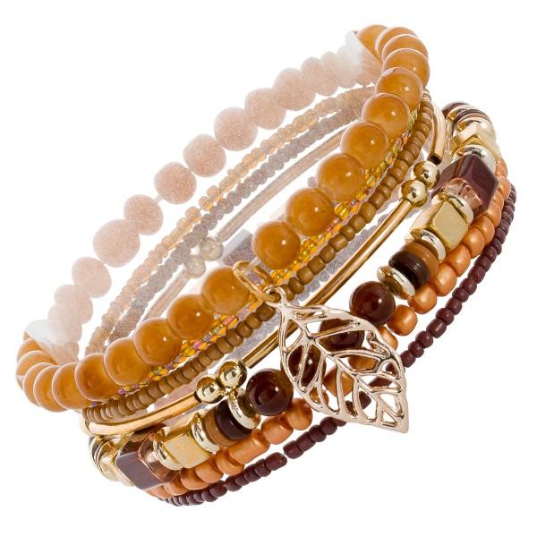 Armband Set Glasperlen Metall vergoldet Braun Bronze 7-teilig