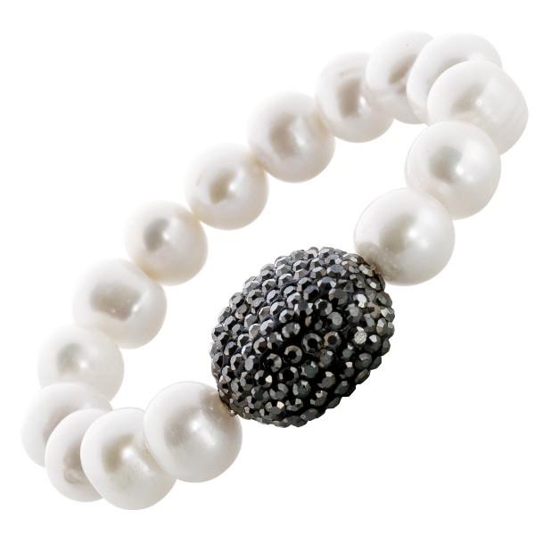 Armband Perlenarmband Perlen weiß rund dehnbar schwarze Kristalle