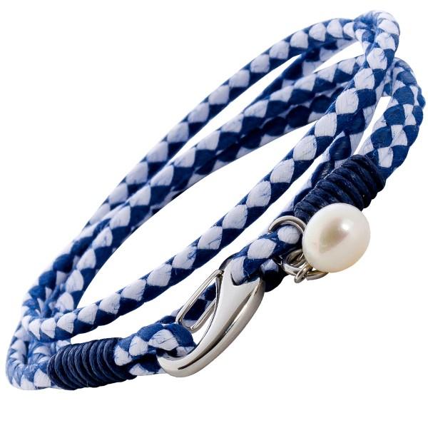 Wickeltextilarmband blau-weiß 4-reihig je 3mm KarabinerverschlussEdelstahl