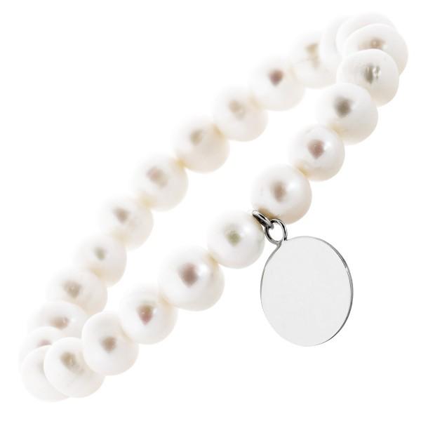 Perlen Armband Gravurarmband weisse Süßwasserzuchtperlen Silber 925 Gravurplatte dehnbar