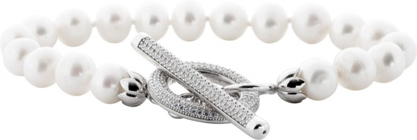 Perlen Armband Silber 925 Knebel Verschl...