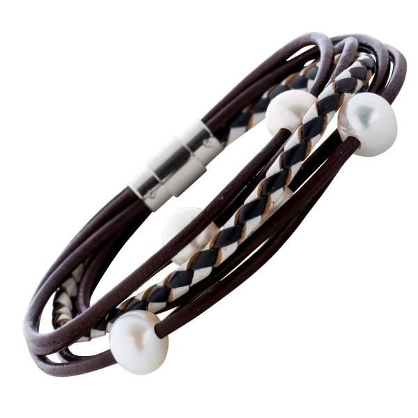 Damen Lederarmband Perlen Armband schwarz braun weiss Edelstahl Magnetverschluss weisse Suesswasserzuchtperlen