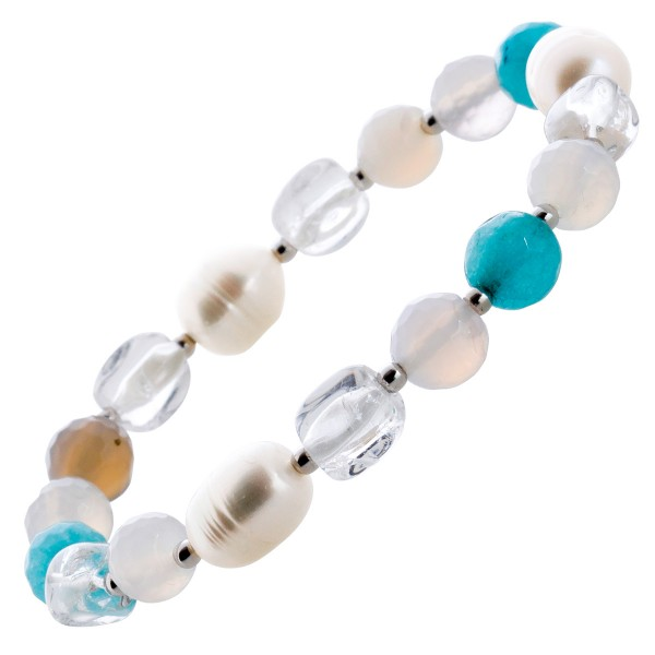 Edelsteinarmband  weiße Perlen weißer Quartz blaue türkise Achatsteine Silber 925