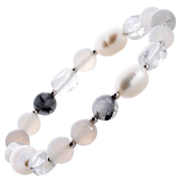 Edelsteinarmband weißer grauer Rutilquarz weiße Zuchtperlen Silber 925
