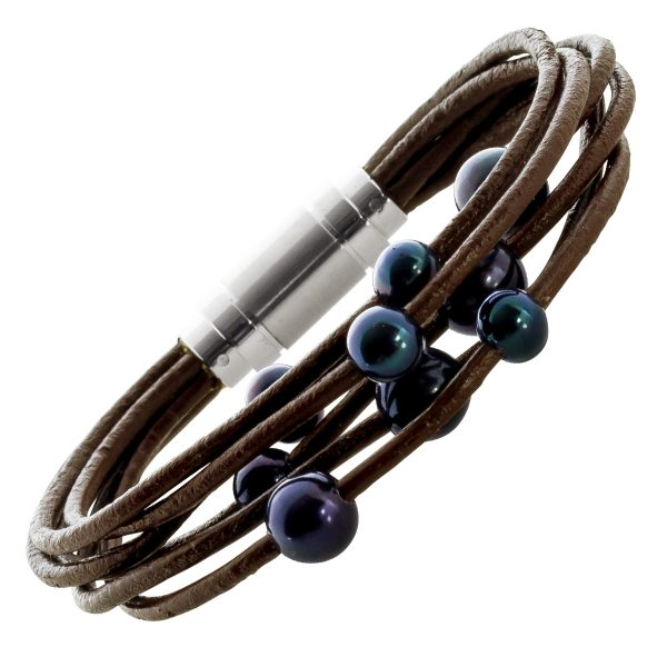 Perlen Leder Armband dunkelbraun 6-reihig schwarze Süsswasserperlen Edelstahl Magnetverschluss 18cm