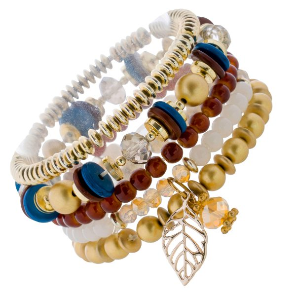 Crystal Blue 5-teiliges dehnbares Armband Set bunten Steinen Blatt Anhänger Metall teils vergoldet