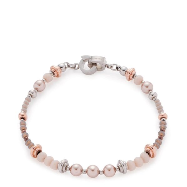 LEONARDO Armband 016968 Clea Darlins Mini Clip Edelstahl IP Rosegold 18,5cm bunten Perlen