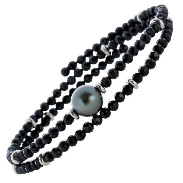 Schwarzes Spinell Edelstein Armband facettiert schwarze Tahitiperle Größe variierbar