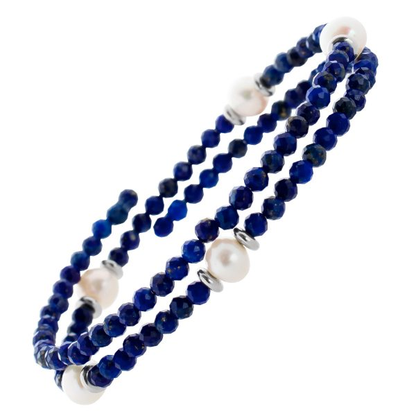 Blaues Lapislazuli Edelstein Armband facettiert weisse Süsswasserperlen Größe variierbar Stahldraht