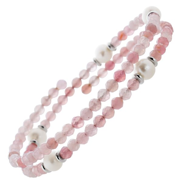 Pinkes Turmalin Edelstein Armband facettiert weisse Süsswasserperlen Stahldraht Größe variierbar