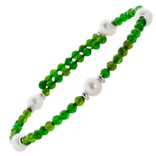 Grünes Chromdiopsid Edelstein Armband facettiert weisse Süsswasserperlen Stahldraht Größe variierbar