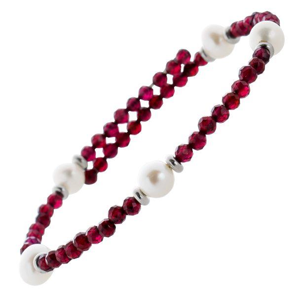 Rotes Granat Edelstein Armband facettiert weisse Süsswasserperlen Stahldraht Größe variierbar Silberzwischenteile 925