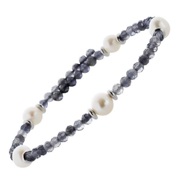 Edelstein Perlen Armreif Armband Iolith 3mm facettiert weisse Süsswasserperlen 6mm Länge Variabel 17-20cm