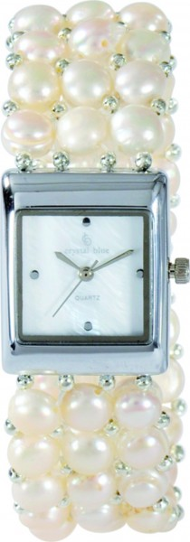 Crystal Blue Quarzwerk Uhr dehnbarem Armband Süsswasserzuchtperlen