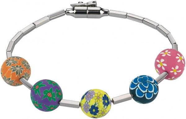 Swatch Pila JBD008-M Armband aus Edelstahl 18cm lang, farbig bedruckte Kunsttonkugeln die alle Einzelstücke sind. Von Hand gefertigte bunte Perlen mit traumhaft schönen Blumenmotiven auf  blendend weißem rostfreiem Edelstahl. Mit Sicherheitsv