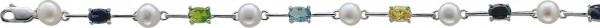 Armband 18,5 cm mit 3 cm Verlängerungskette Süßwasserzuchtperlen 6 bunte Zirkonia, rhod.