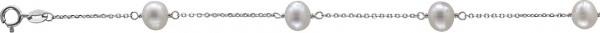 Armband aus echtem Silber Sterlingsilber 925/- erhältlich in 19 und 44cm Länge, mit 4 wunderschönen Süßwasserzuchtperlen Ø ca. 7mm. Stärke der Kette ca. 0,8mm mit stabilem Federringverschluss. Edel im Design und ein absolutes Schmuckstück aus dem Hause Ab