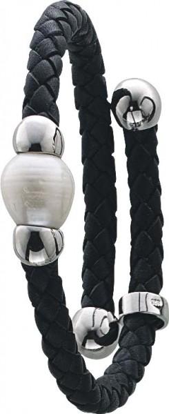 Armband 18 cm / Collier 45 cm, schwarzes Lederband, mit einer echten schön glänzenden  Süßwasserzuchtperle (Durchmesser ca. 10-11mm) , dehnbar. Stärke ca. 5mm. Erhältlich in 18 und 45cm. Markenqualität erhältlich bei Abramowicz, die Nr.1 für Gold,Silber u