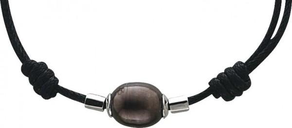Perlenkette – Stuttgarts feinste Juweliersqualität.  Süsswasserzuchtperlen Armband/Perlencollier verschiedene Größen, aus feinem schwarzem Lederband, beliebig verstellbar, Zwischenteile aus echtem 925/- Silber Sterlingsilber und echten, wunderschön glänze