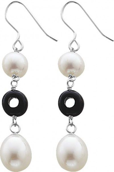 Ohrringe – Ohrschmuck, Süßwasserzucht- perlen, schwarzer Achat