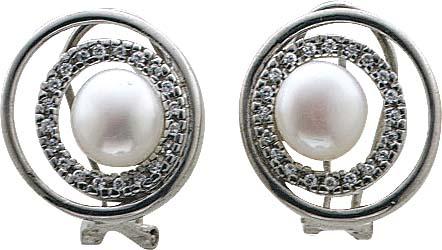 Ohrringe – Ohrstecker in Silber Sterlingsilber 925/- mit Süßwasserzuchtperlen und 40 funkelnden Zirkonia, Durchmesser 16mm, Durchmesser der Perle 8mm. In Premiumqualität aus Stuttgart – Abramowicz, die feine Goldschmiede seit 1949