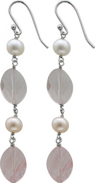 Ohrringe – Ohrschmuck in Silber Sterlingsilber 925/- mit Süßwasserzuchtperlen und facettierte Glassteine beweglich. Ein Einzelstück aus dem Hause Abramowicz