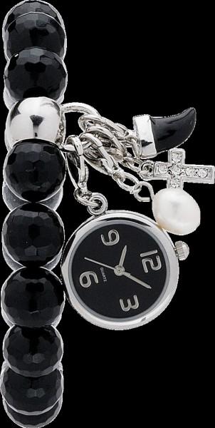 Megatrendiges Onyxarmband (dehnbar) mit Quarzuhreinhänger, Durchmesser 22 mm, Onyxperlen Durchmesser 11mm. mit einem Perl-, einem Horn- und einem Kreuzeinhänger. Ein stylisch angesagtes Schmuckstück zum Knallerpreis von Abramowicz aus Stuttgart.