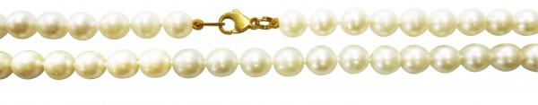 Perlenkette. Perlencollier 44 cm lang mit stabilem Karabinerverschluss aus feinstem Gelbgold 333/- und echten, nicht ganz runden, mit sichtbaren Einschlüssen  japanischen Akoyazuchtperlen 7 mm und wunderschönen, leicht cremefarbener Luster. Ein sehr hochw
