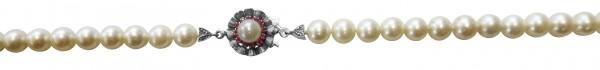 Perlenkette. Perlencollier 80 cm lang, Verschluss aus feinstem Weißgold 750/- und echten, super feinen, ganz runden, fast makellosen  japanischen Akoyazuchtperlen 6,9- 7,4 mm, wunderschönen, cremefarbener Luster und 12 echten, funkelnden Rubinen. Ein sehr