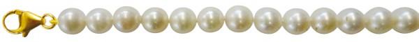 Perlenkette GG 333/-. Traumhaftes Perlencollier 44 cm lang mit wunderschönen, superfeinen, ganz runden, fast makellosen, echten japanischen Akoyazuchtperlen 7,5-7,7 mm und leicht cremefarbenem Luster. Hochwertiger Verschluss in feinem Gelbgold 333/-. Sehr