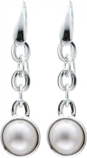 Ohrringe – Ohrhänger beweglich aus echtem Silber Sterlingsilber 925/-, besetzt mit zwei wunderschön glänzenden, weißen Synthetikperlen rhodiniert und hochglanzpoliert, Durchmesser ca. 14 mm, Länge ca. 58 mm. Sehr edel durch die hochwertige Verarbeitung zu