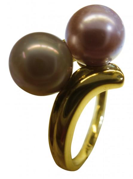 Edler Ring in feinem Gelbgold 333/-hochglanzpoliert, Ringgröße 20,6mm Größe ist auf Wunsch änderbar, verziert mit 2 wunderschönen syntetik Perlen in Braun und Rose, Maße: Ringkopf Breite 15mm, der Ring ist ein richtiger Eyecatcher, In Premiumqualität von