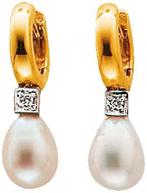 Ohrringe – Ohrschmuck in Gelbgold 585/- . Klappcreolen 2 echten funkelnden Brillanten 0,06 Carat W/P und mit 2 wunderschönen Süßwasserzuchtperlen in Tropfenform, Breite der Perlen 8 mm – Länge 10 mm. Länge des Ohrhängers 30 mm – tolles Design! Zum Top-Pre